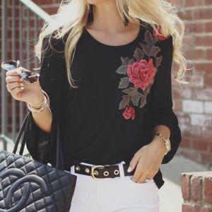 Tops - Black, Bell Sleeved, appliqué rose top